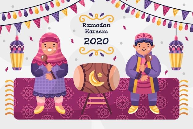 Ręcznie Rysowane Koncepcja Ramadanu Darmowych Wektorów