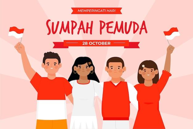 Ręcznie Rysowane Koncepcja Sumpah Pemuda Darmowych Wektorów