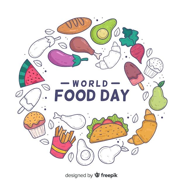 Ręcznie Rysowane Koncepcja światowy Dzień żywności Darmowych Wektorów