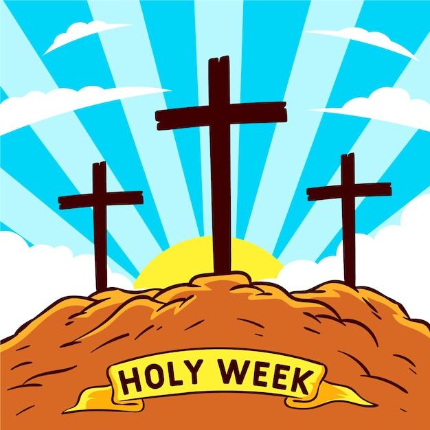 Ręcznie Rysowane Koncepcja świętego Tygodnia Darmowych Wektorów