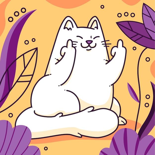Ręcznie Rysowane Kot Pokazujący Symbol Kurwa Premium Wektorów