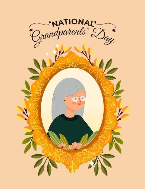 Ręcznie Rysowane Krajowe Ramki Dzień Dziadków Z Babcią Darmowych Wektorów