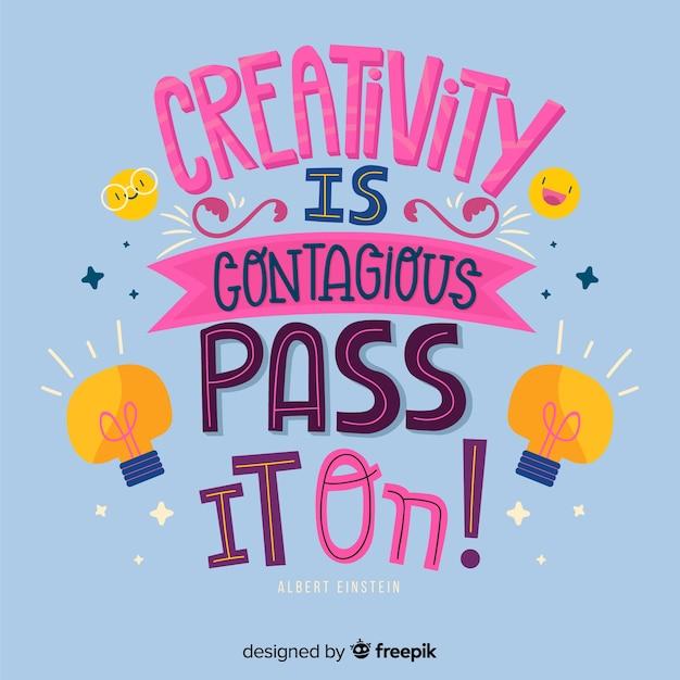 Ręcznie Rysowane Kreatywność Cytat Napis Tło Darmowych Wektorów