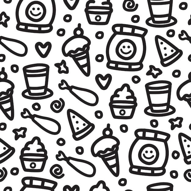 Ręcznie Rysowane Kreskówka Jedzenie Doodle Wzór Premium Wektorów