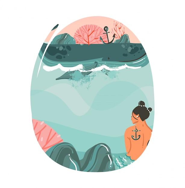 Ręcznie Rysowane Kreskówka Lato Czas Ilustracje Sztuki Szablonu Tła Z Krajobrazem Plaży Oceanu, Wielkim Wielorybem, Sceną Zachodu Słońca I Piękną Syrenką Na Białym Tle Premium Wektorów