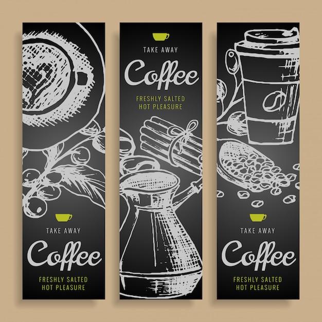 Ręcznie rysowane kreskówka wektor gryzmoły tożsamości korporacyjnej kawy. Premium Wektorów