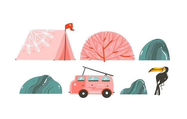 Ręcznie Rysowane Kreskówki Czas Letni Ilustracje Graniczą Z Namiotem, Kamieniami, Rafami Koralowymi, Busem Kempingowym I Tukanem Na Białym Tle Premium Wektorów