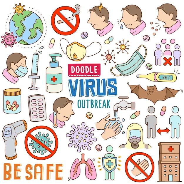 Ręcznie Rysowane Kreskówki W Kolorze Bazgroły - Epidemia Wirusa Premium Wektorów
