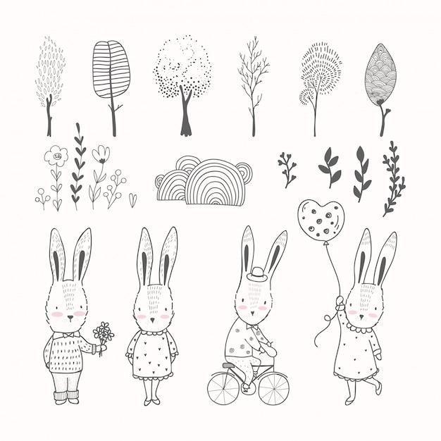 Ręcznie rysowane króliki i zbiory elementów kolekcji Premium Wektorów