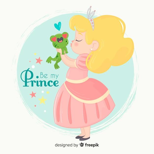 Ręcznie rysowane księżniczka całuje żaby Darmowych Wektorów
