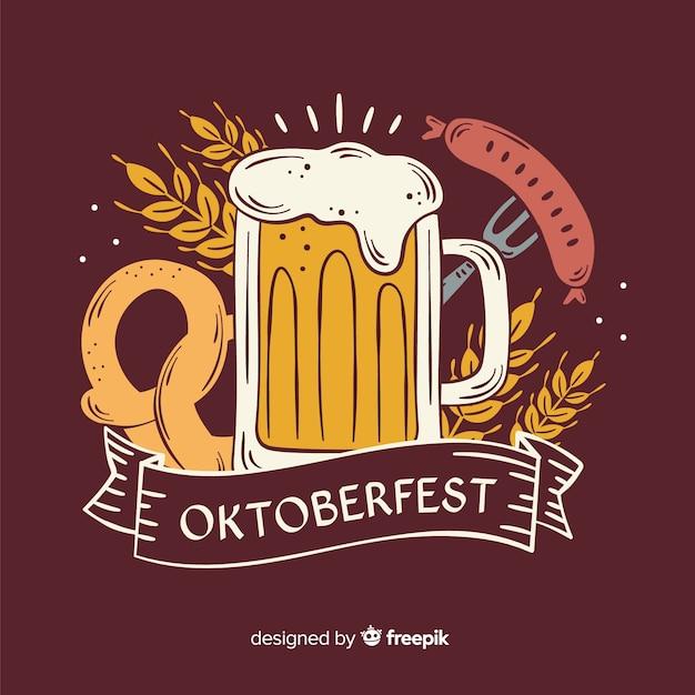 Ręcznie rysowane kubek piwa oktoberfest Darmowych Wektorów