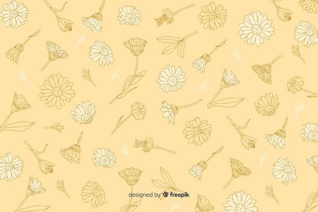 Ręcznie rysowane kwiat na pastelowym tle Darmowych Wektorów