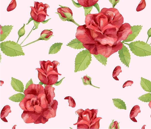Ręcznie Rysowane Kwiat Róży Wzór Premium Wektorów