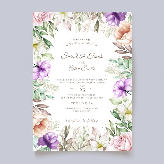 Ręcznie Rysowane Kwiatowy I Pozostawia Zaproszenie Na ślub Darmowych Wektorów