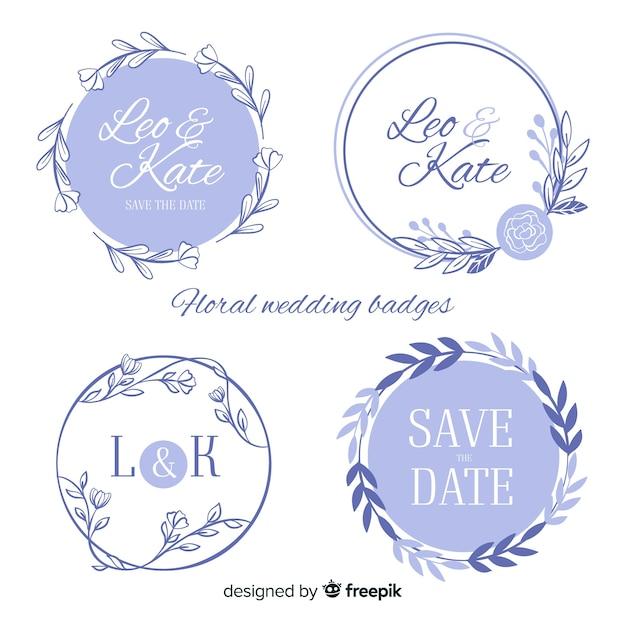 Ręcznie rysowane kwiatowy odznaki ślubne Darmowych Wektorów