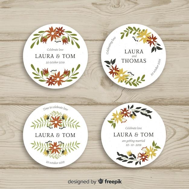 Ręcznie rysowane kwiatowy odznaki wesele kolekcja Darmowych Wektorów