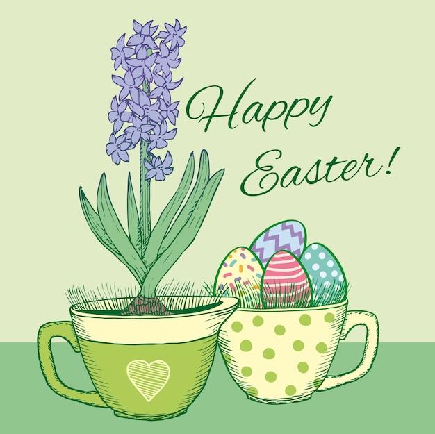 Ręcznie Rysowane Kwiatowy Szczęśliwy Kartka Wielkanocna Z Kwitnącym Naturalnym Hiacyntem W Doniczce I Ozdobnymi Jajkami W Kubku Darmowych Wektorów
