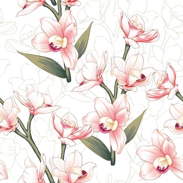 Ręcznie rysowane kwiatowy tło Premium Wektorów