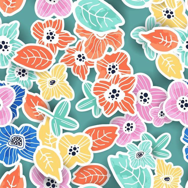 Ręcznie rysowane kwiatowy wzór Premium Wektorów