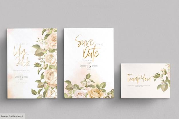 Ręcznie Rysowane Kwiatowy Zaproszenia ślubne Zestaw Kart Darmowych Wektorów