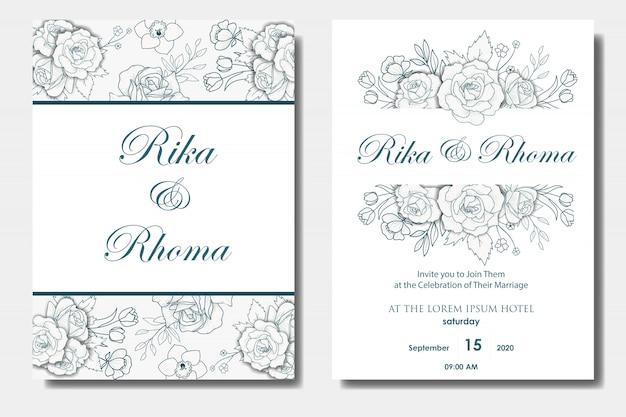 Ręcznie rysowane kwiatowy zaproszenia ślubne Premium Wektorów