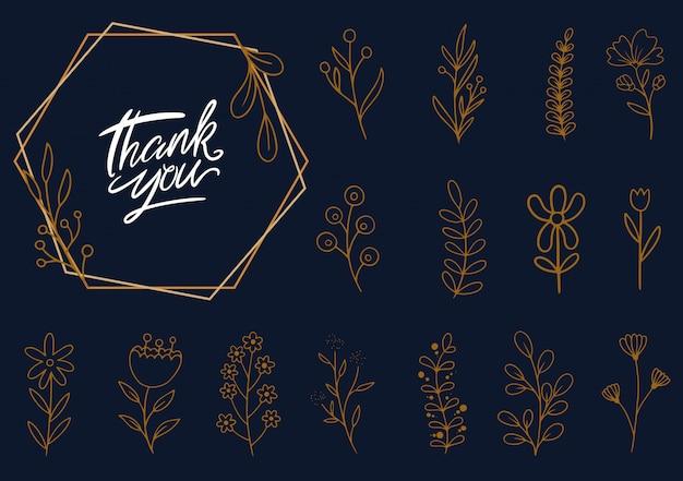 Ręcznie Rysowane Kwiaty Doodle Premium Wektorów