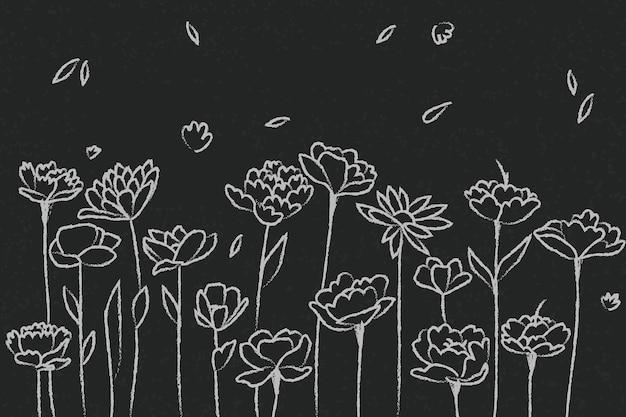 Ręcznie Rysowane Kwiaty Na Tablica Tło Darmowych Wektorów