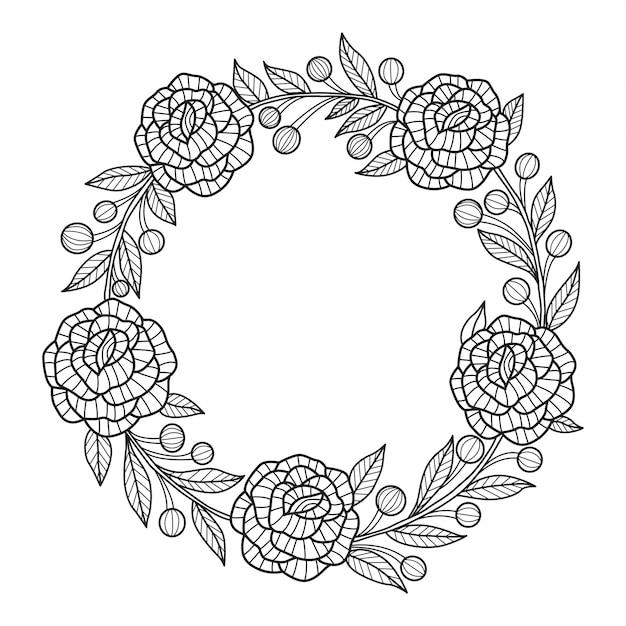 Ręcznie rysowane kwiaty ramki. wieniec Premium Wektorów