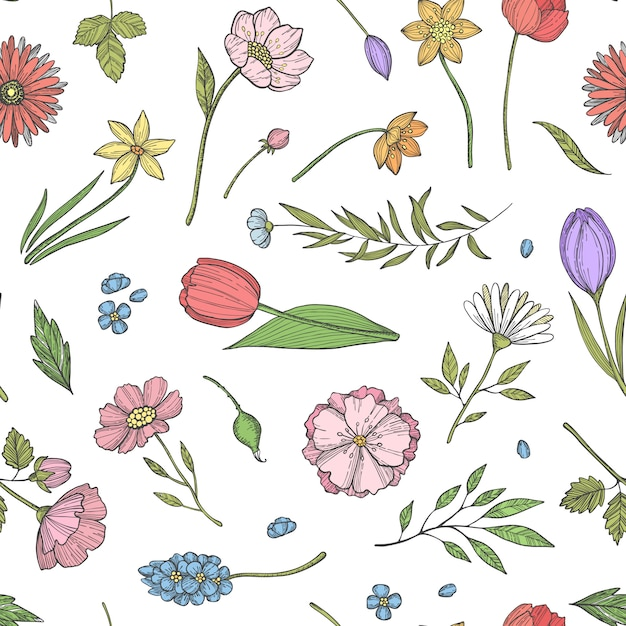 Ręcznie Rysowane Kwiaty Wzór Lub Ilustracji Premium Wektorów