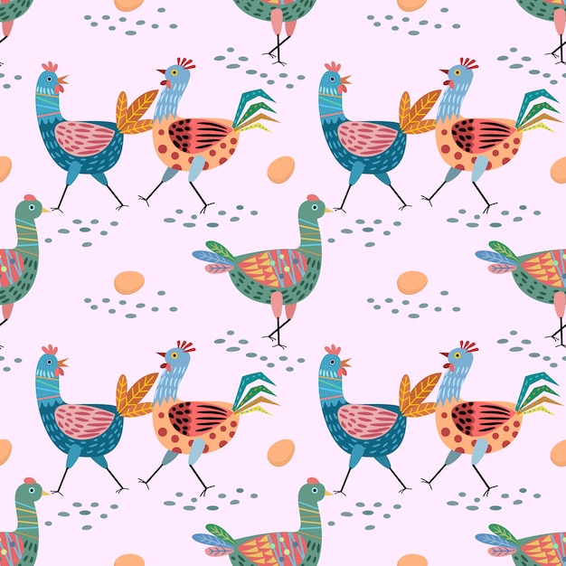 Ręcznie rysowane ładny kurczak wzór. Premium Wektorów
