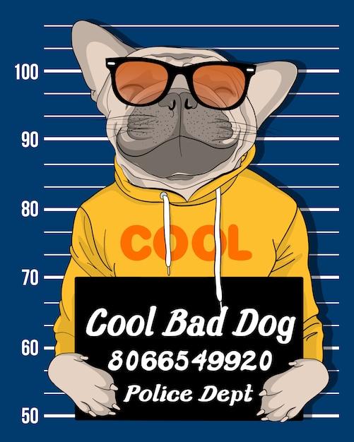 Ręcznie rysowane ładny pies z okulary przeciwsłoneczne ilustracja Premium Wektorów