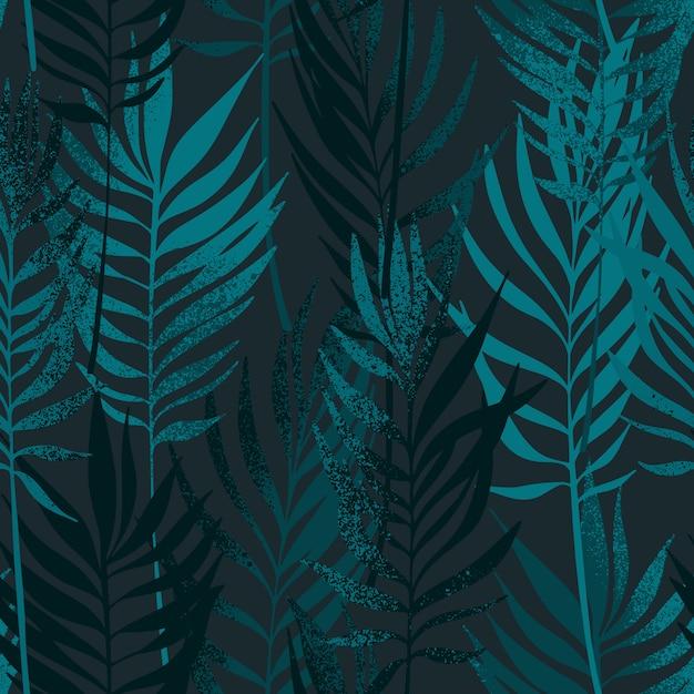 Ręcznie rysowane liści palmowych z tekstura wzór. Premium Wektorów