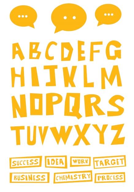 Ręcznie Rysowane Litery Dekoracyjne Kreskówka. Premium Wektorów
