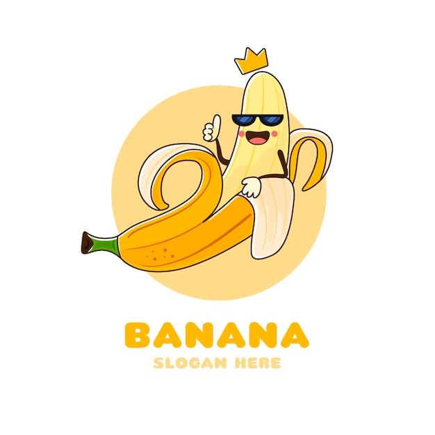 Ręcznie Rysowane Logo Postaci Banana Premium Wektorów
