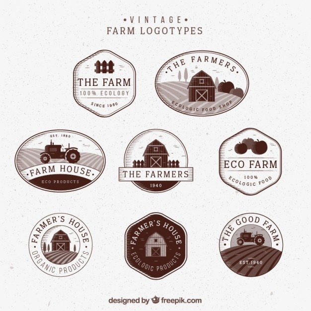Ręcznie Rysowane Logotypy Gospodarskie Zabytkowe Darmowych Wektorów