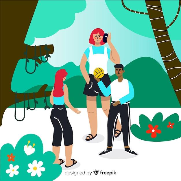 Ręcznie rysowane ludzi w tle parku Darmowych Wektorów