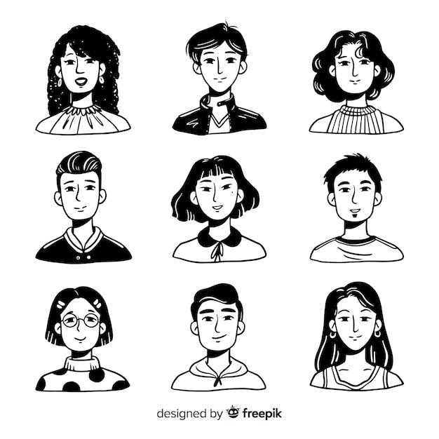 Ręcznie rysowane ludzie awatar paczka Darmowych Wektorów