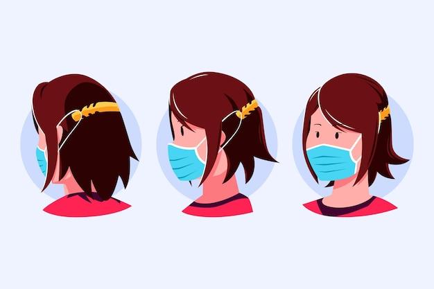 Ręcznie Rysowane Ludzie Noszący Regulowany Pasek Maski Na Twarz Darmowych Wektorów