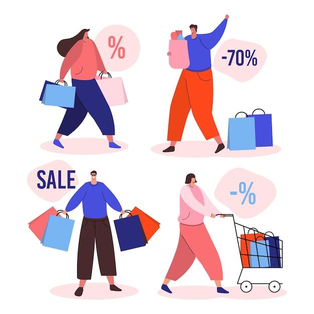 Ręcznie Rysowane Ludzie Zakupy Na Sprzedaż Premium Wektorów