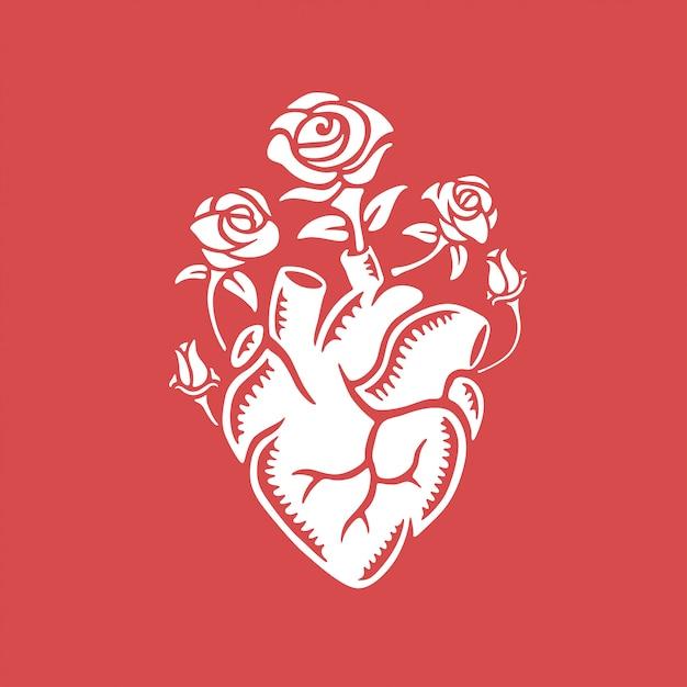 Ręcznie Rysowane Ludzkie Serce Z Różami. Premium Wektorów