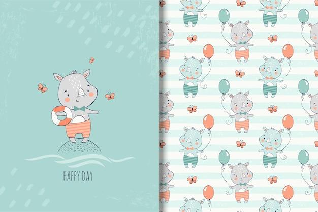 Ręcznie rysowane mały nosorożec karty i wzór dla dzieci Premium Wektorów