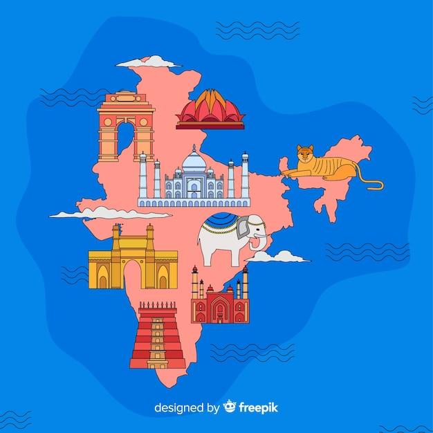 Ręcznie Rysowane Mapę Indii Darmowych Wektorów
