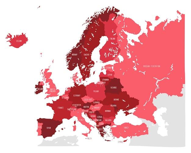 Ręcznie Rysowane Mapy Wektorowej Europy W Czerwonych Odcieniach Premium Wektorów