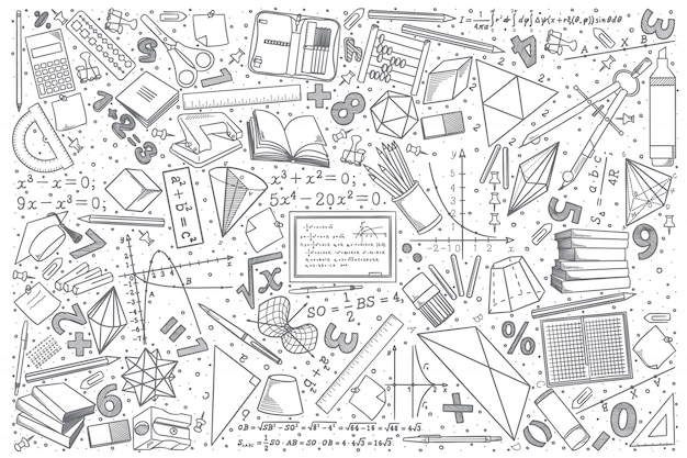 Ręcznie Rysowane Matematyki Doodle Zestaw Premium Wektorów