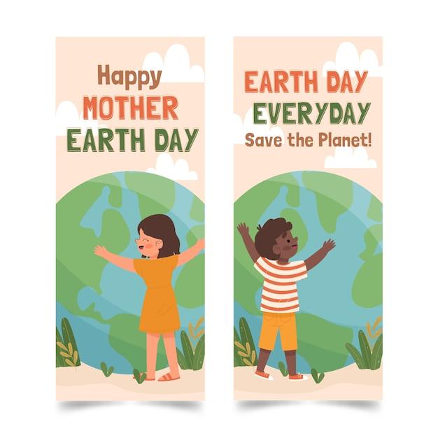 Ręcznie Rysowane Matka Dzień Ziemi Pakiet Transparent Darmowych Wektorów
