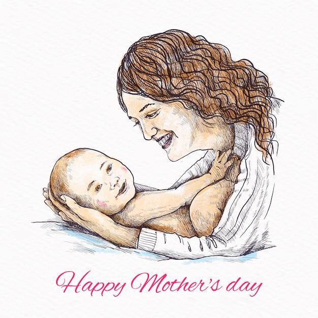 Ręcznie Rysowane Matka Trzyma Jej Dziecko Darmowych Wektorów
