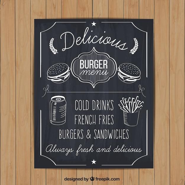 Ręcznie Rysowane Menu Burger Na Tablicy Darmowych Wektorów