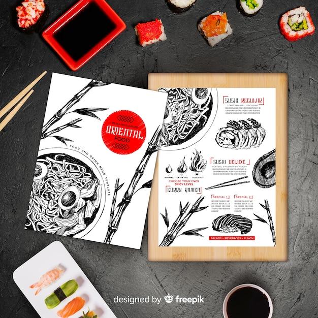 Ręcznie rysowane menu orientalne jedzenie Darmowych Wektorów