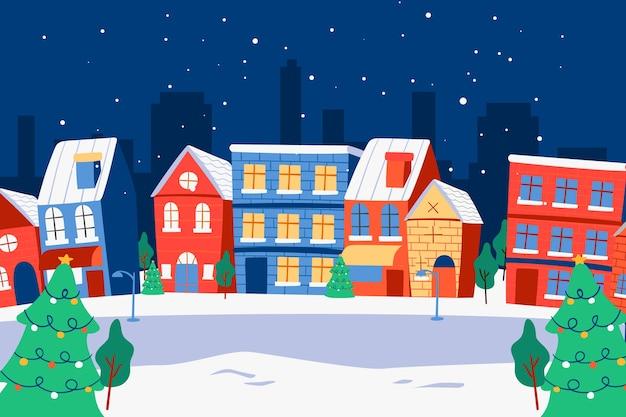 Ręcznie Rysowane Miasta Bożego Narodzenia Darmowych Wektorów