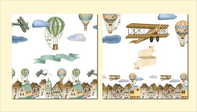 Ręcznie Rysowane Miasto, Retro Samoloty I Ilustracja Balony Na Ogrzane Powietrze, Zestaw Szablonów Kart Okolicznościowych Premium Wektorów